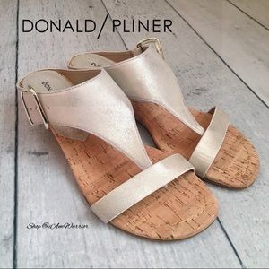 Donald Piner NWT metallic cork buckle wedge sandal